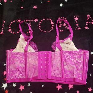 Victoria's Secret Intimates & Sleepwear - VS Magenta Eyelash Lace Long Line Unlined Bra NWT